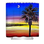 Palmetto Sunset Moon And Stars Shower Curtain