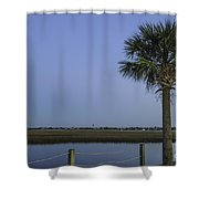 Palmetto View Of Lighthouse Shower Curtain