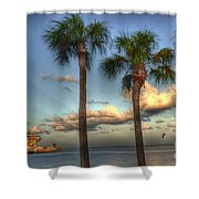 Palms At The Pier Shower Curtain