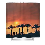 Palms On Fire Shower Curtain by Laurie Search