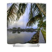 Palms Over The Waterway Shower Curtain