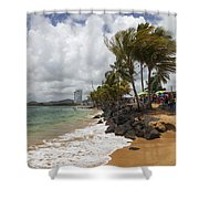 Palms Trees Along Luquillo Beach Shower Curtain