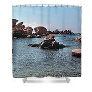 Palombaggia Beach And Rocks, Corsica Shower Curtain