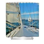 Pamlico Sound Sailing 52 4/14 Shower Curtain