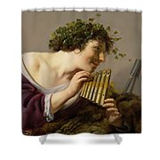Pan Playing His Pipes Shower Curtain by Paulus Moreelse