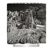 Panaca Sandstone Formations In Black And White Nevada Landscape Shower Curtain