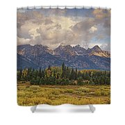 Panaroma Clearing Storm On A Fall Morning In Grand Tetons National Park Shower Curtain