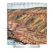 Panaromic Photo Of Red Bluff Beach Shower Curtain