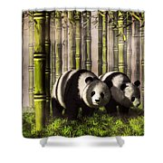 Pandas In A Bamboo Forest Shower Curtain