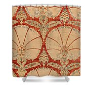 Panel Of Red Cut Velvet With Carnation Shower Curtain