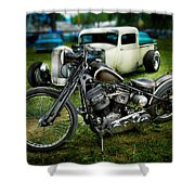 Panhead Harley And Ford Pickup Shower Curtain