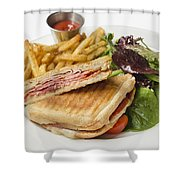Panini With Ham Melted Cheese French Fries And Salad Shower Curtain