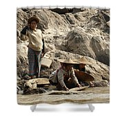 Panning For Gold Mekong River 2 Shower Curtain