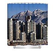 Pano Vancouver Snowy Skyline Shower Curtain by David Smith
