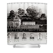 Panorama Alcatraz Infamous Inmates Black And White Shower Curtain