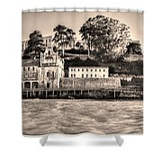 Panorama Alcatraz Shaky Sepia Shower Curtain