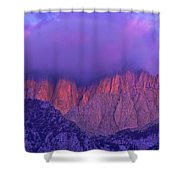 Panorama Alpenglow On Mount Whitney Eastern Sierras California Shower Curtain