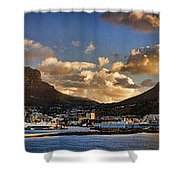 Panorama Cape Town Harbour At Sunset Shower Curtain