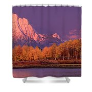 Panorama Dawn Lights Up Mount Moran In Grand Tetons National Park Shower Curtain