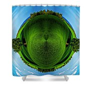 Panorama Earth Of A Green Meadow And Blue Sky Shower Curtain