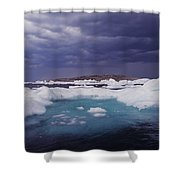 Panorama Ice Floes In A Stormy Sea Wager Bay Canada Shower Curtain