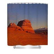 Panorama Moonrise Over Delicate Arch Arches National Park Utah Shower Curtain