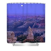 Panorama Moonrise Over Point Imperial Grand Canyon National Park Shower Curtain