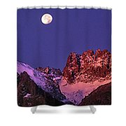 Panorama Moonset Middle Palisades Glacier Eastern Sierras California Shower Curtain