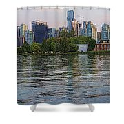Panorama Of Coal Harbour And Vancouver Skyline At Dusk Shower Curtain