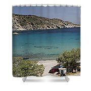 Panorama Of Mandrakia Fishing Village Milos Greece Shower Curtain