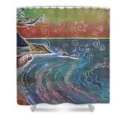 Panorama Of Pch At Big Sur Shower Curtain