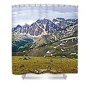 Panorama Of Rocky Mountains In Jasper National Park Shower Curtain by Elena Elisseeva