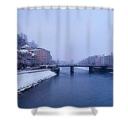 Panorama Of Salzburg In The Winter Shower Curtain