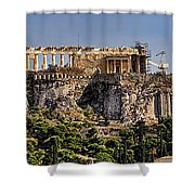 Panorama Of The Acropolis In Athens Shower Curtain