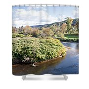 Panorama Of The Little River At Stowe Vermont Shower Curtain