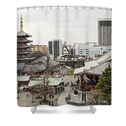 Panorama Of The Senso Ji Temple In Tokyo Shower Curtain