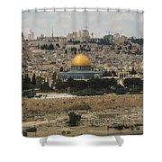 Panorama Of The Temple Mount Including Al-aqsa Mosque And Dome Shower Curtain