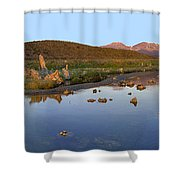 Panorama Of Tufa Towers Mono Lake Shower Curtain