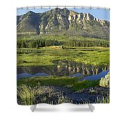 Panorama Of Windy Mountain Wyoming Shower Curtain