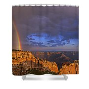 Panorama Rainbow Over Cape Royal North Rim Grand Canyon National Park Shower Curtain