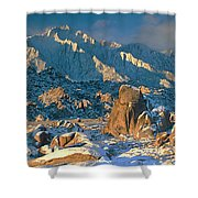 Panorama Snow Covers The Alabama Hills Shower Curtain