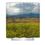 Panorama Striaght Cliffs And Rabbitbrush Escalante Grand Staircase  Shower Curtain