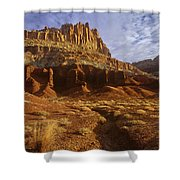 Panorama The Castle On A Cloudy Morning Capitol Reef National Park Shower Curtain