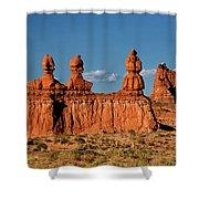 Panorama Three Sisters Hoodoo Goblin Valley Utah Shower Curtain