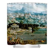 Panorama With The Abduction Of Helen Amidst The Wonders Of The Ancient World Shower Curtain