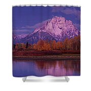 Panoramic Fall Morning Oxbow Bend Grand Tetons National Park Wyoming Shower Curtain