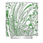 Panoramic Grunge Etching Sage Color Shower Curtain