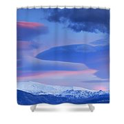 Panoramic Lenticular Clouds Over Sierra Nevada National Park Shower Curtain