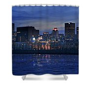 Panoramic Of Skyline At Dusk, Montreal Shower Curtain