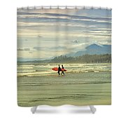 Panoramic Of Surfers On Long Beach, Bc Shower Curtain